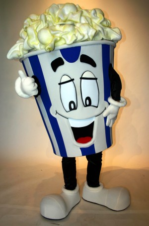 Poppy the Popcorn, custom corporate mascot for Consolidated Theaters