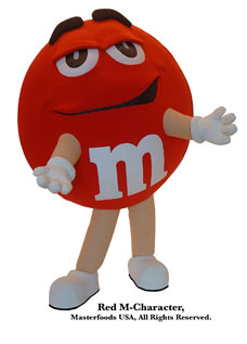 Red M-Character M&M's Custom Corporate Company Mascot