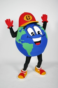 Global Guy custom corporate mascot costume