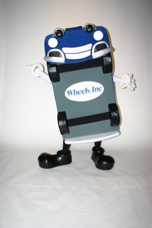Wheelie for Wheels Inc. custom corporate mascot