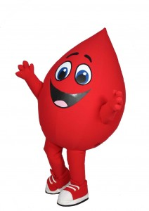 Buddy the Blood Drop Custom Mascot for Hoxworth Blood Center