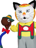 Huckle Cat and Lowly Worm Mascot Costume