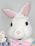 Fuzzy Bunny with Jumpsuit Mascot Costume