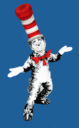 Cat in the Hat Custom Promotional Mascot Costume Available as Rental
