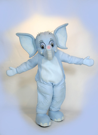 Saggy Baggy Elephant Sooki Custom Promotional Mascot Costume Available as Rental