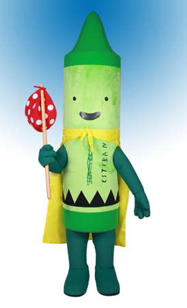 266784468cd13 Pea Green Crayon aka Esteban | Custom Mascots | Costume Specialists