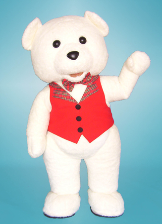 White Teddy Bear Mascot Costume