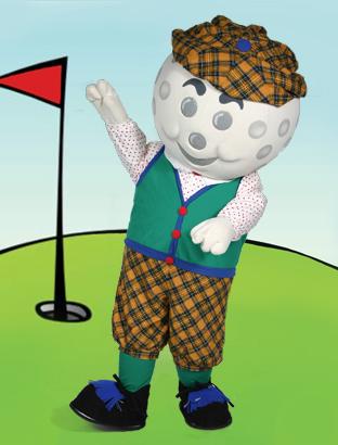 Golfball Guy Mascot Costume