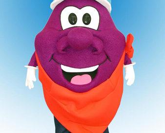 Plum Guy Mascot Costume