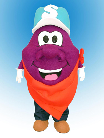 Plum Guy Mascot Costume