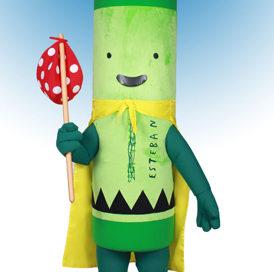 Pea Green Crayon aka Esteban mascot costume rental