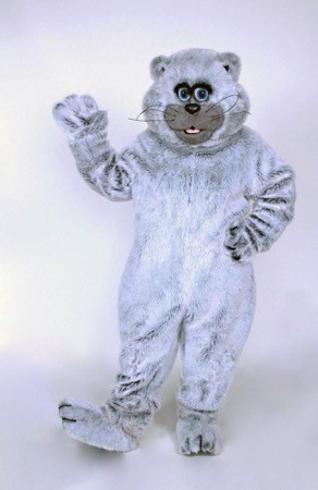 Grey Kitty mascot costume