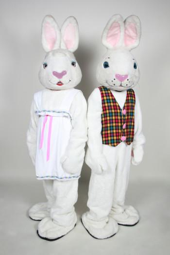 Mr. and Mrs. White Bunny mascot costume rental