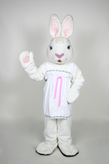 Mrs. White Bunny mascot costume rental