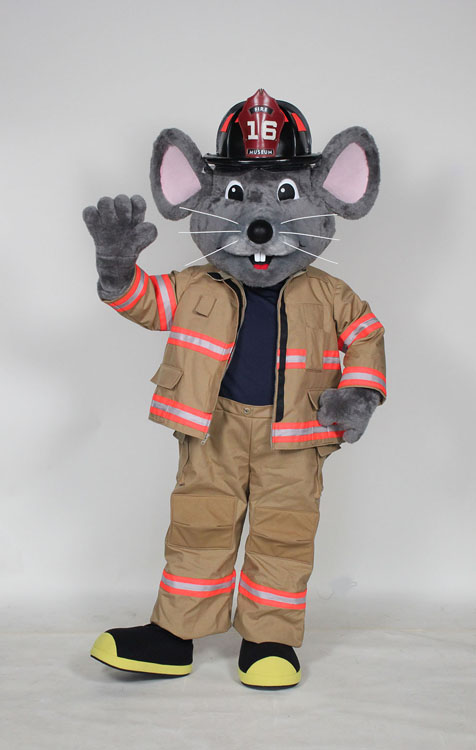Mascot Costume by Costume Specialists of a Mouse wearing a Full Fire Fighter Kit