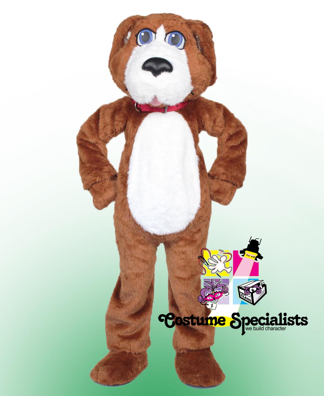 Brown Dog Rental Costume Mascot standing with paws on hips